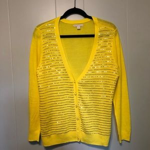 Yellow cardigan sweater with sparkles